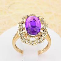 002-1221 - Позолоченный перстень с радужным лиловым и прозрачными фианитами, 16.5 р.