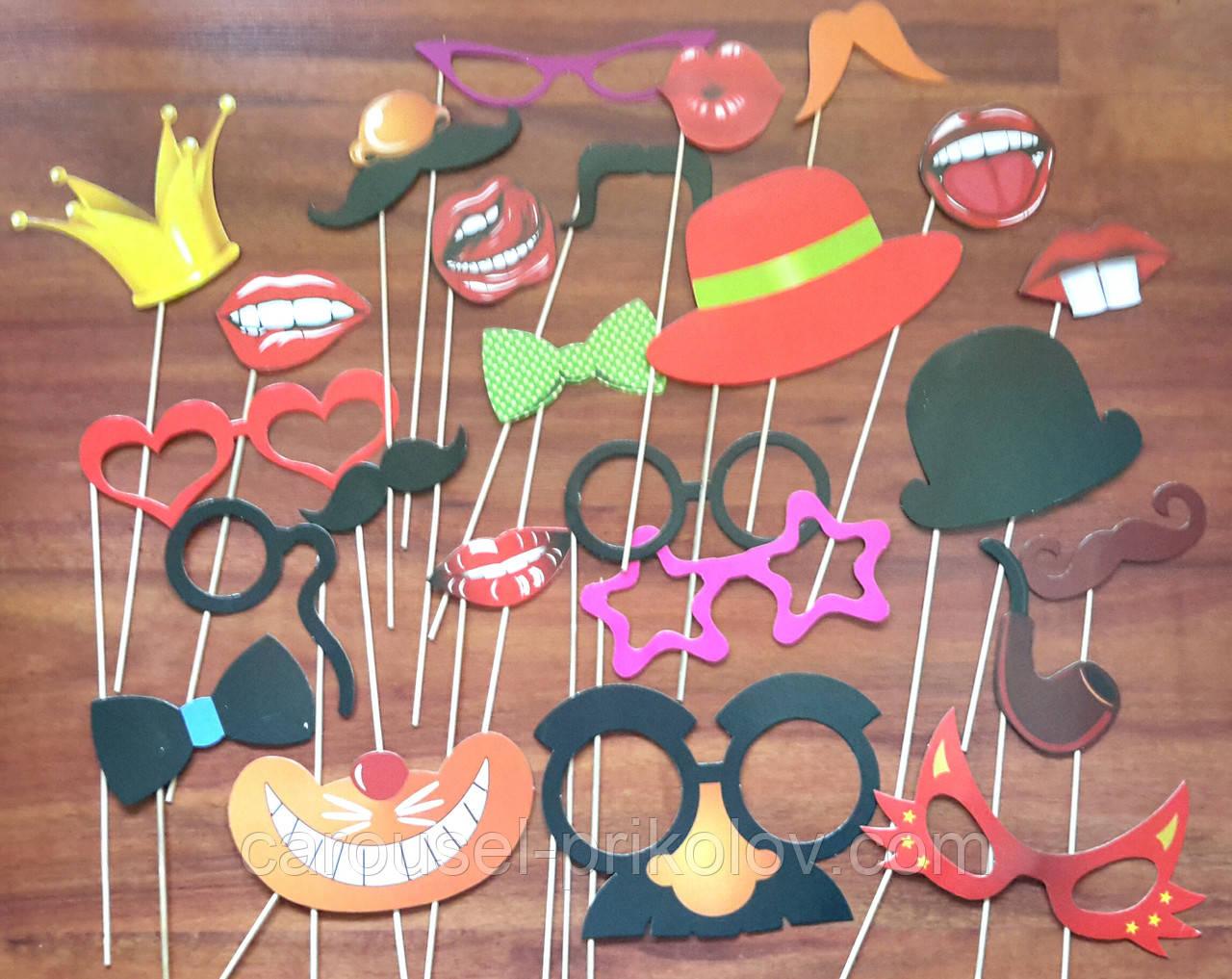 Фотобутафория прикольна губки, вуса, окуляри, капелюшки, метелики, корона 25 предметів