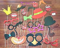 Фотобутафория прикольная губки, усы, очки, шляпки, бабочки, корона  25 предметов