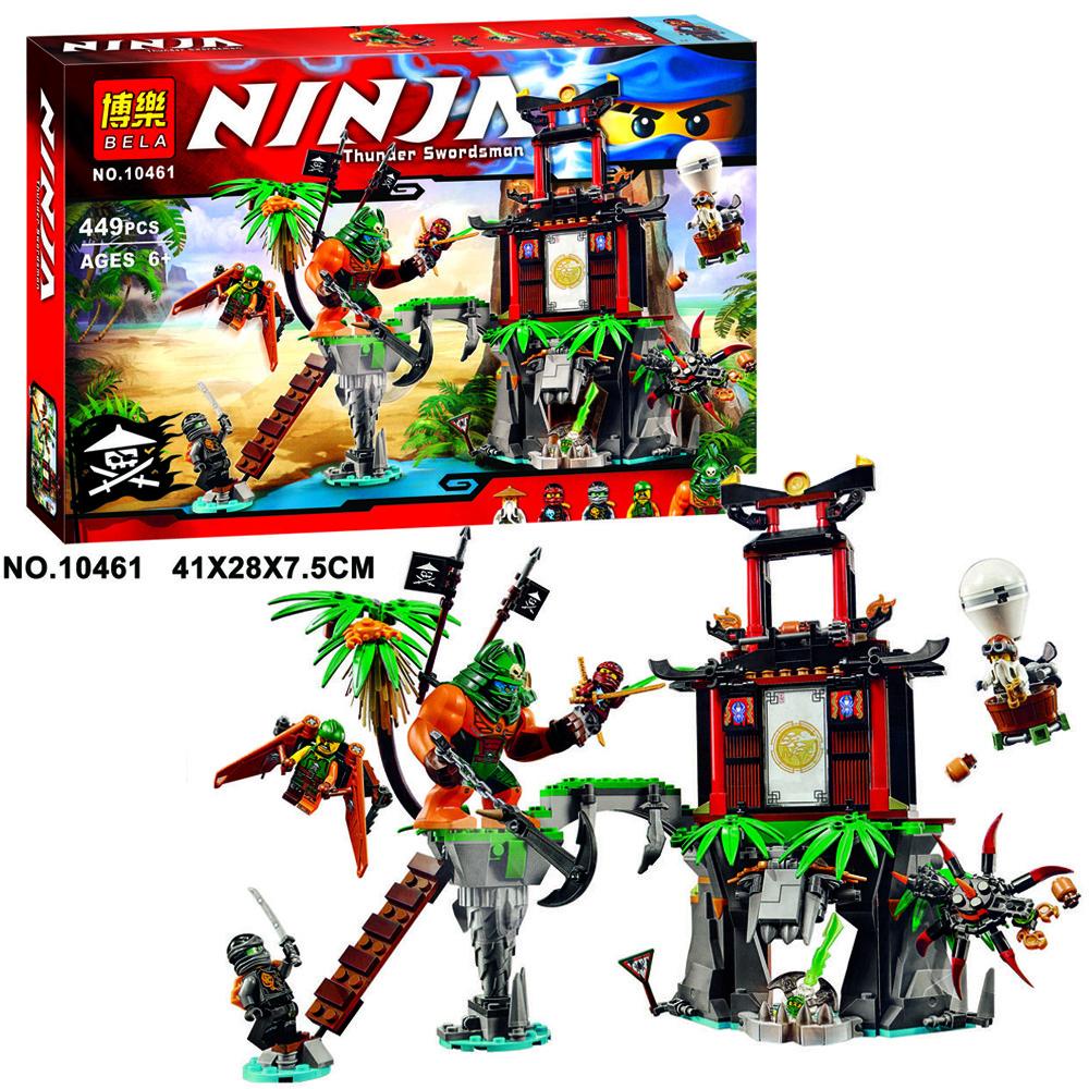 """Конструктор Bela 10461 Ниндзя го """"Остров тигриных вдов"""" (аналог LEGO Ninjago 70604) 449 деталей"""