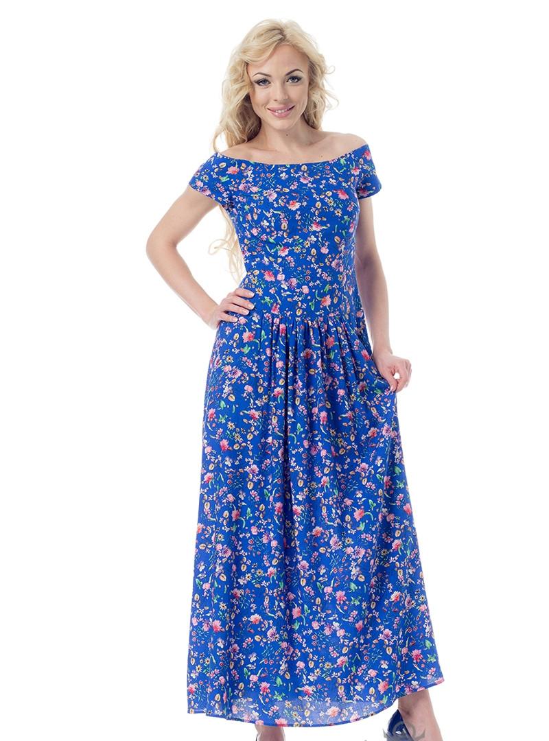 Летнее платье из цветного штапеля Нариса