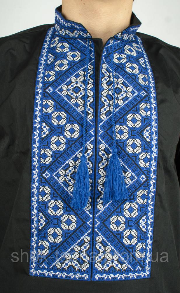 Чорна сорочка вишиванка чоловіча з синьою вишивкою  продажа 6f2ef644fd6be