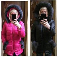 (12)Модная куртка - пуховик с ушками и мехом на капюшоне