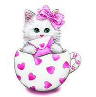 Алмазная вышивка котенок, розовый