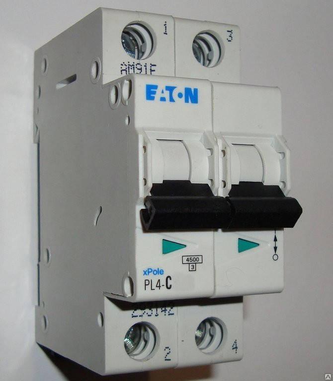 Автоматический выключатель Eaton (Moeller) PL4, C 63А 2- пол., 4,5kA