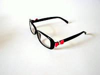 Компьютерные очки. Антибликовые. Чёрные с розовым бантом, New Bird