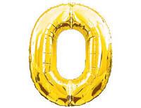 Цифра 0 фольгированная золотая 901760О