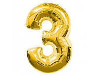 Цифра 3 фольгированная золотая 901763О