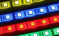Гибкая светодиодная RGB лента без влагозащиты, SMD5050, 60 leds/m, 10мм*2,4мм, 12Vdc, 1200mA/m, 280Lm/m