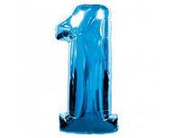Цифра 1 фольгированная голубая 901761А