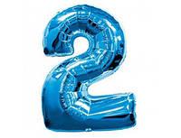 Цифра 2 фольгированная голубая 901762А