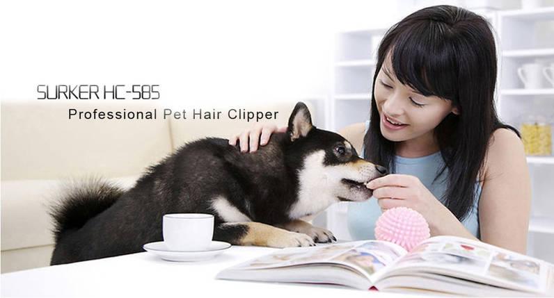 Машинка для стрижки собак и котов Surker HC-585 Pet Hair Clipper с 6 насадками, триммер Суркер 585, фото 2