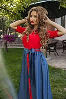 Женское платье длинное с имитацией рубашки