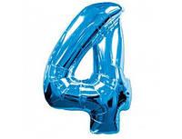 Цифра 4 фольгированная голубая 901764А