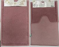 Набор ковриков для ванной и туалета  Arya Point темно-розовый