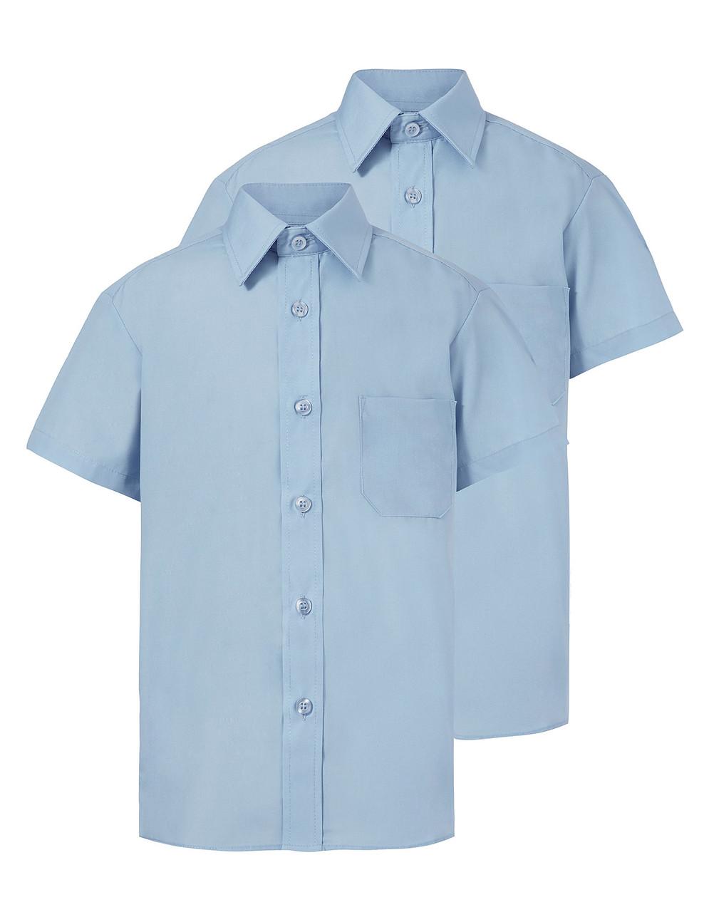 Школьная рубашка Slim Fit голубая с коротким рукавом на мальчика 10-11-12-13-14 лет George (Англия)