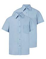 Школьные рубашки голубые короткий рукав для мальчиков 6-7, 7-8, 8-9 лет Non Iron George (Англия)