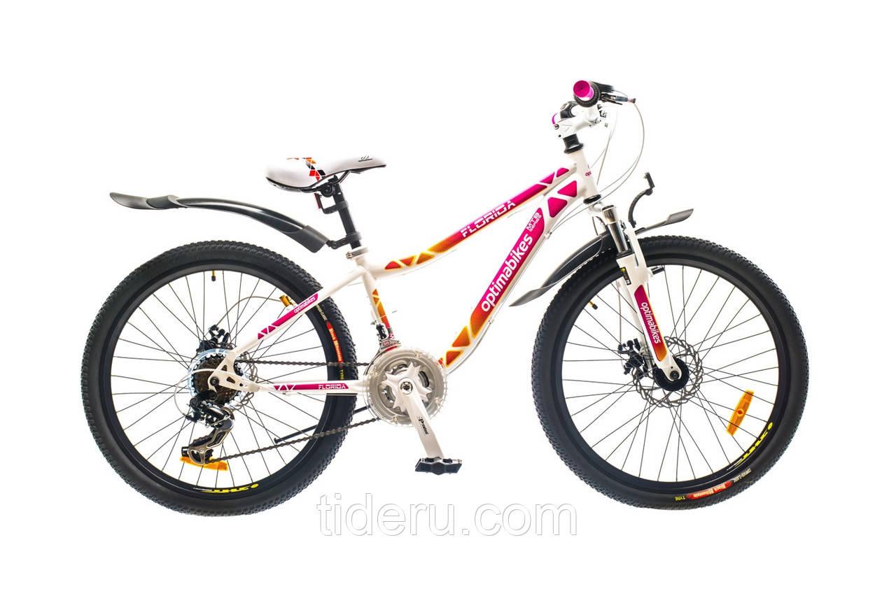 """Велосипед OptimaBikes FLORIDA (2015),  рама 12""""  (бело-розовый)"""