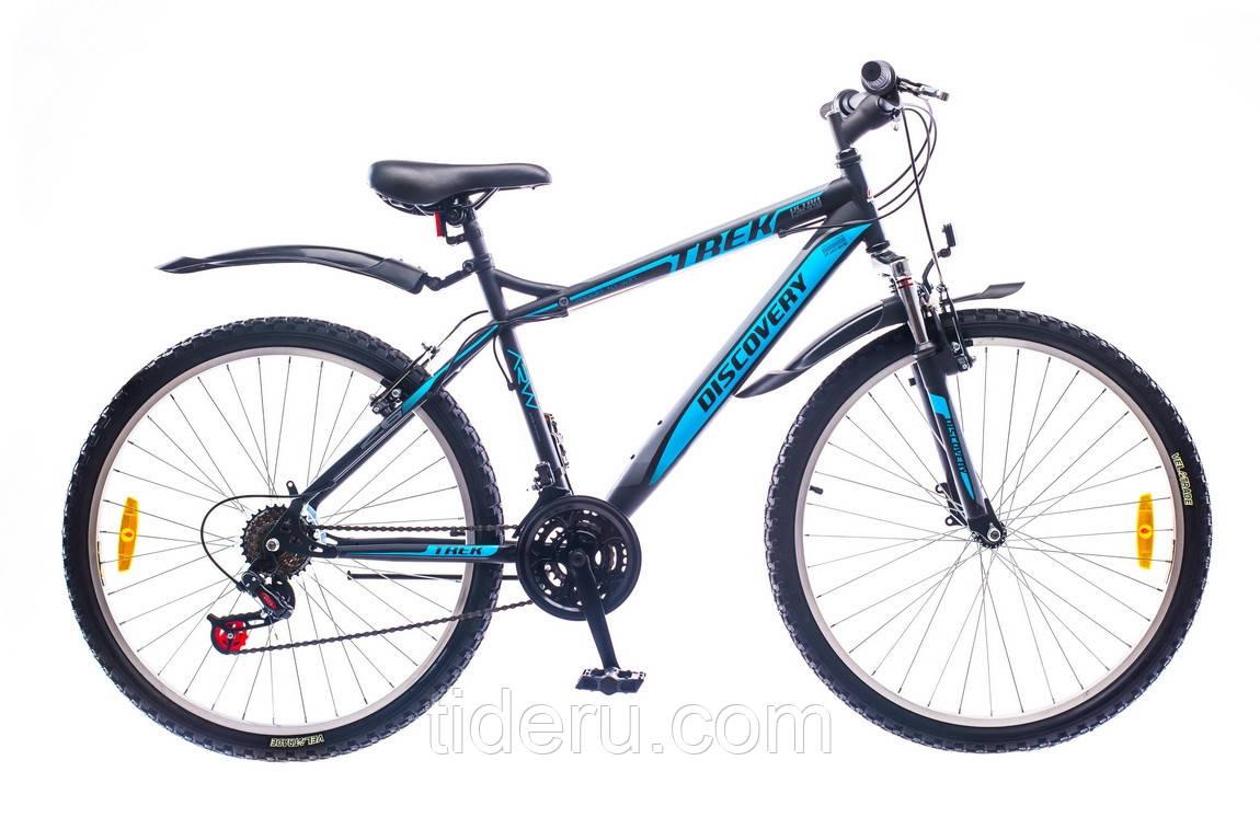 "Велосипед Discovery TREK (2016),  рама 15""; 18""  (черно-сине-серый)"