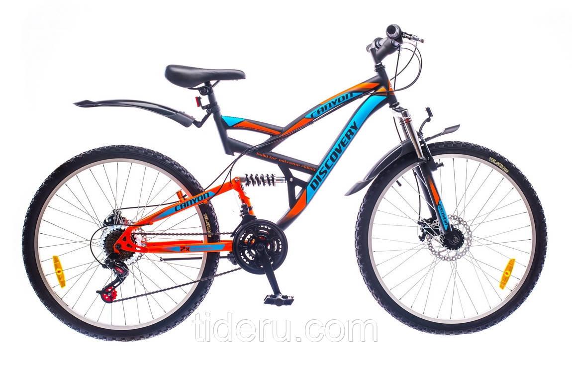 "Велосипед Discovery CANYON (2016),  рама 19""  (черно-сине-оранжевый)"