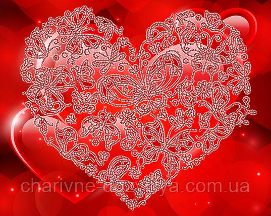 "Схема для вышивки бисером на атласе ""Кружевное сердце"" (на алом фоне), фото 2"