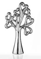 Декоративная статуэтка из керамики Дерево любви в романтичном стиле посеребренная.