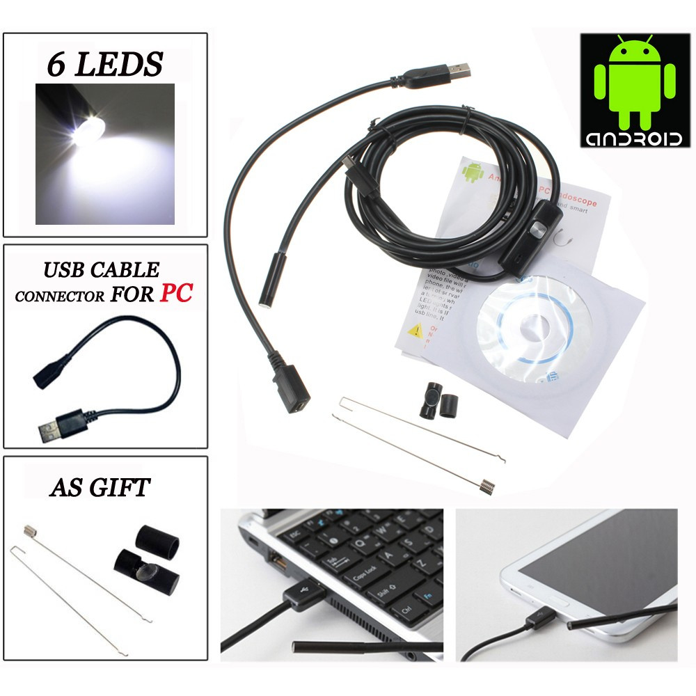 Эндоскоп бороскоп с камерой Android ПК 6LED