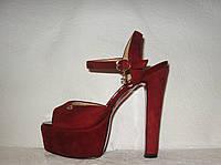 Босоножки стильные женские на высоком каблуке замшевые бордового цвета