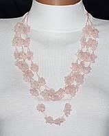 Гарнитур (колье и серьги) из розового кварца