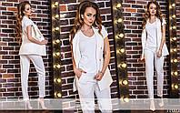 Костюм белый женский (брюки+жилет)