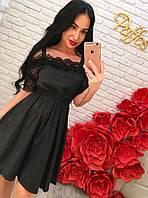 Женское шикарное летнее платье-трапеция с кружевом и поясом на резинке (3 цвета) черный