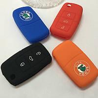 Силиконовый чехол на ключ 3 кнопки Skoda