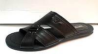 Шлепанцы ARMANI кожаные черные Ar0001