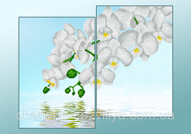 """Схема-диптих для вышивки бисером на атласе """"Белые орхидеи"""" (Серия Элит)"""