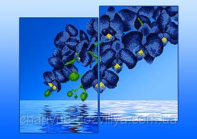 """Схема-диптих для вышивки бисером на атласе """"Голубые орхидеи"""" (Серия Элит)"""