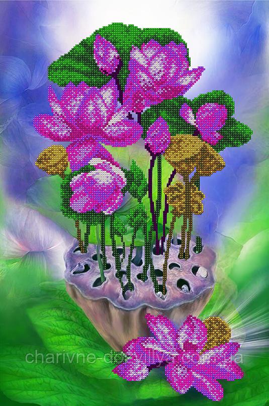 """Схема для вишивання бісером на атласі (квіти) """"Лотос"""" Серія Еліт"""