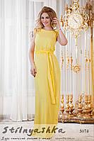 Летнее длинное платье из штапеля желтое