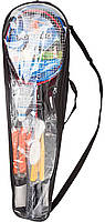 Набор для бадминтона (2 ракетки, 2 волана, сетка со стойками, разметка, чехол)