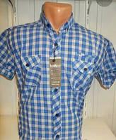 Рубашка мужская короткий рукав клетка синяя 2кармана