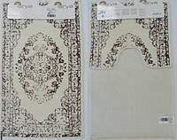 Набор ковриков для ванной и туалета  Arya  Venus кремовый с лиловым