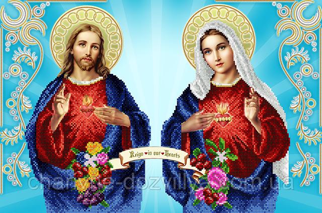 """Схема для вышивки бисером на атласе (икона) """"Непорочное сердце Марии и Святое сердце Иисуса"""" Серия Элит."""