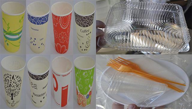 Одноразовые пластиковые контейнеры, наборы и бумажные стаканы