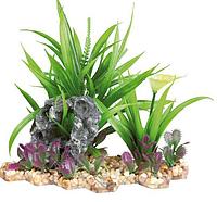 Растение для аквариума Trixie (Трикси) пластиковое на каменной подложке TX-89302, 18 см