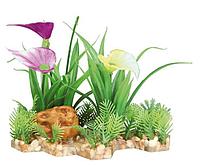 Растение для аквариума Trixie (Трикси) пластиковое на каменной подложке TX-89301, 13 см