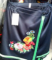Юбка-плахта с вышивкой мальвы в синем цвете для девочки