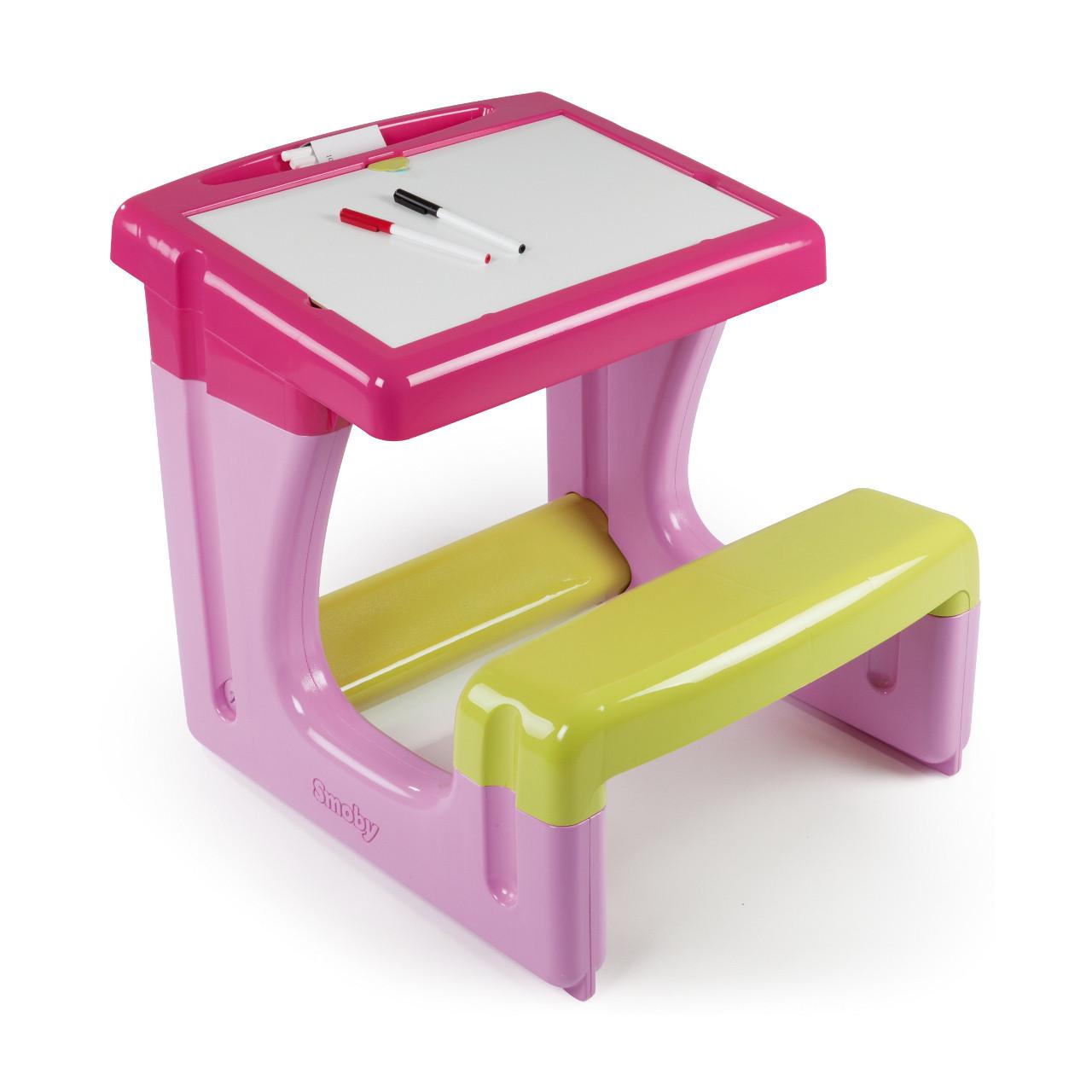 """Творчество и рукоделие «Smoby» (28006) парта с двухсторонней доской для рисования """"Pink"""" """"Маленький школьник"""", 7 аксессуаров, 70x58x54 см"""