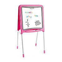"""Творчество и рукоделие «Smoby» (28109) двухсторонний мольберт """"Pink"""" на металлических ножках, 59 аксессуаров, 52х48х105 см"""
