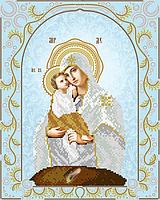 """Схема для вышивки бисером на атласе икона """"Богородица Почаевская"""" (серебро)"""