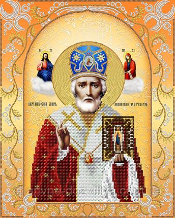 """Схема для вышивки бисером на атласе икона """"Святой Николай Чудотворец"""" (золото), фото 2"""