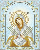 """Схема для вышивки бисером на атласе икона """"Богородица Семистрельная"""" (серебро)"""